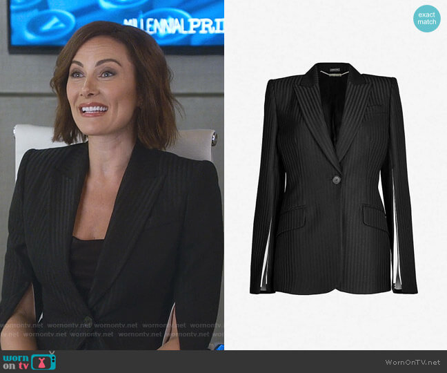 Striped Slit-Sleeve Woven Blazer by Alexander McQueen worn by Quinn (Laura Benanti) on Younger