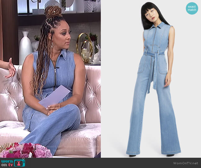 Gorgeous Denim Jumpsuit by Alice + Olivia Jeans worn by Tamera Mowry  on The Real
