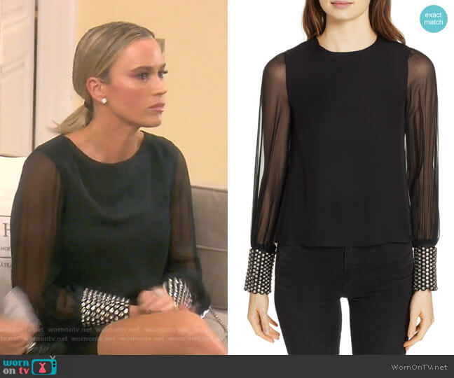 Vix Embellished Cuff Silk Blouse by Alice + Olivia worn by Teddi Mellencamp Arroyave  on The Real Housewives of Beverly Hills