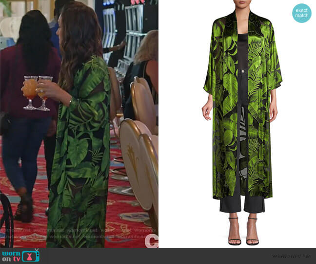 Kalena Caftan by Alice + Olivia worn by Colleen Brandon-Ortega (Angelique Cabral) on Life in Pieces