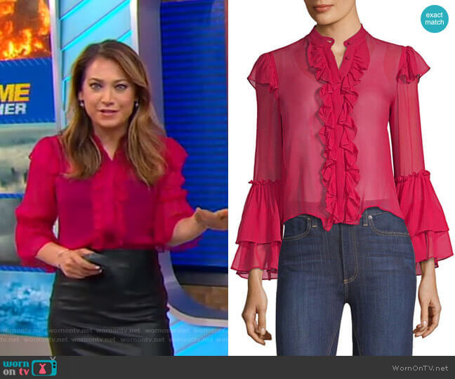 Odele Blouse by Alice + Olivia worn by Ginger Zee  on Good Morning America