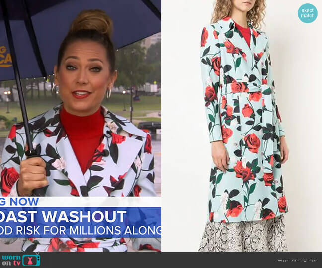 Structured Floral Coat by Alice + Olivia worn by Ginger Zee  on Good Morning America