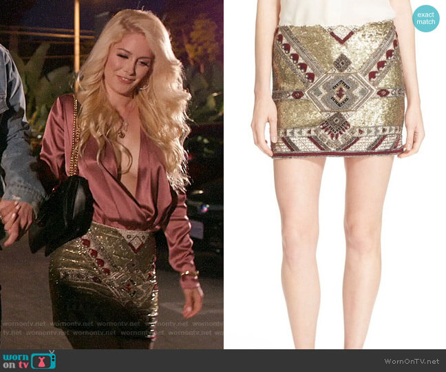 Alice + Olivia Elana Embellished Skirt worn by Heidi Montag  on The Hills New Beginnings