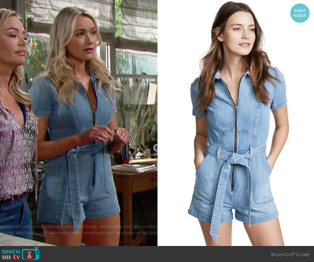 Alice + Olivia Gorgeous Romper worn by Florence (Katrina Bowden) on The Bold & the Beautiful