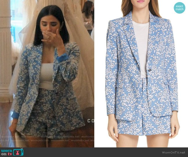 Alice + Olivia Cornflower Floral Macey Blazer and Shorts worn by Lina Santillan (Diane Guerrero) on Jane the Virgin