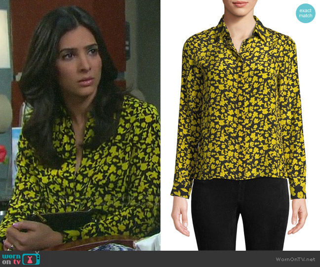 Alice + Olivia Willa Floral Silk Shirt worn by Gabi Hernandez (Camila Banus) on Days of our Lives