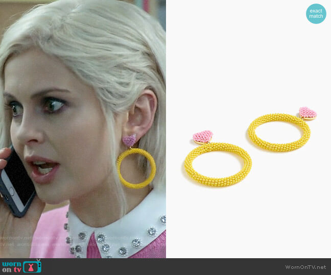 Alison Lou X J.Crew beaded heart drop-hoop earrings worn by Liv Moore (Rose McIver) on iZombie