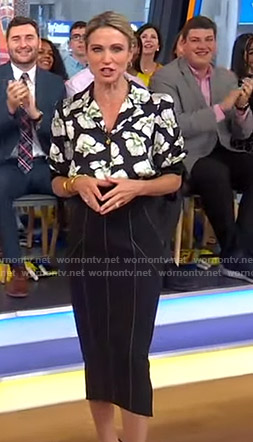 Amy's black floral top and pencil skirt on Good Morning America