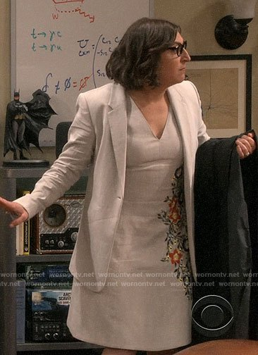 Amy's beige embroidered dress and blazer on The Big Bang Theory