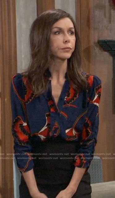 Anna's blue and red floral blouse on General Hospital