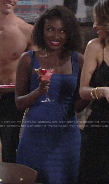 Ana's blue ribbed top and skirt at Lola's bridal shower on The Young and the Restless