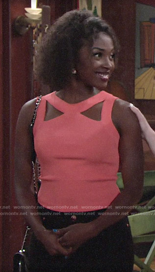 Ana's coral cutout top on The Young and the Restless