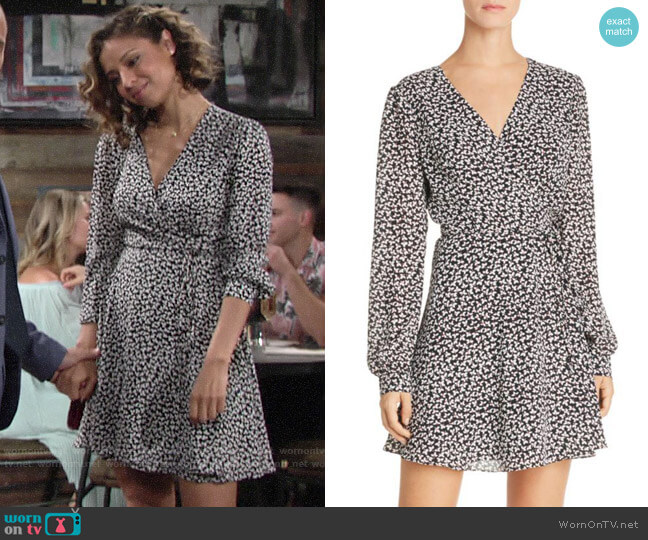 Aqua Floral Print Wrap Dress worn by Elena Dawson (Brytni Sarpy) on The Young & the Restless