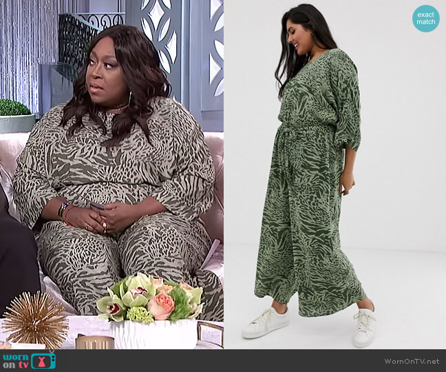 Curve Tie Waist Jumpsuit in Animal Print by Asos worn by Loni Love  on The Real