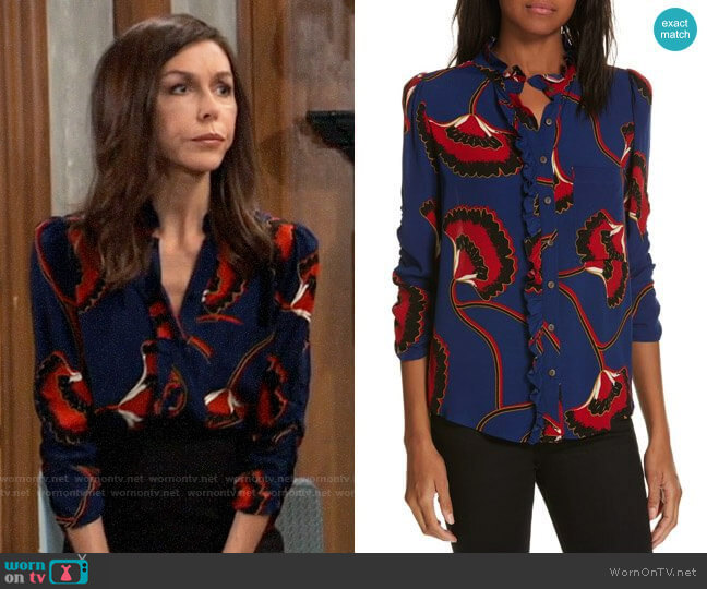 ba&sh Laura Blouse worn by Anna Devane (Finola Hughes) on General Hospital