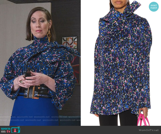 Printed Plissé Blouse by Balenciaga worn by Diana Trout (Miriam Shor) on Younger