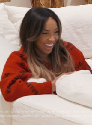 Malika's red balenciaga logo sweater on Keeping Up with the Kardashians