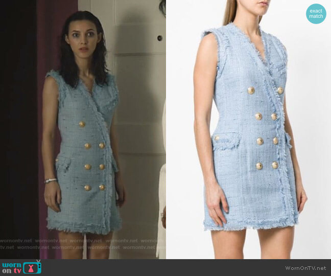 Tweed Mini Dress by Balmain worn by Alicia Mendoza (Denyse Tontz) on Grand Hotel
