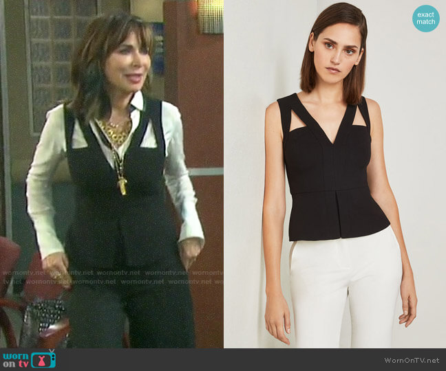 Bcbgmaxazria Hailee Cutout Peplum Top worn by Kate Roberts (Lauren Koslow) on Days of our Lives