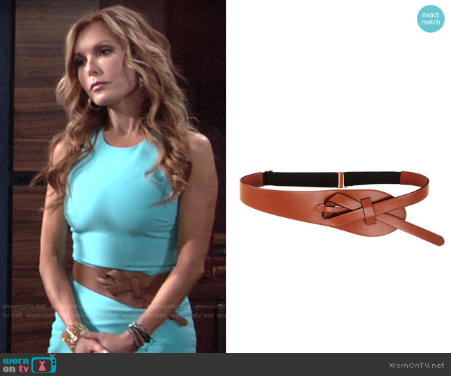 Bcbgmaxazria Looped Faux Leather Waist Belt worn by Lauren Fenmore (Tracey Bregman) on The Young & the Restless