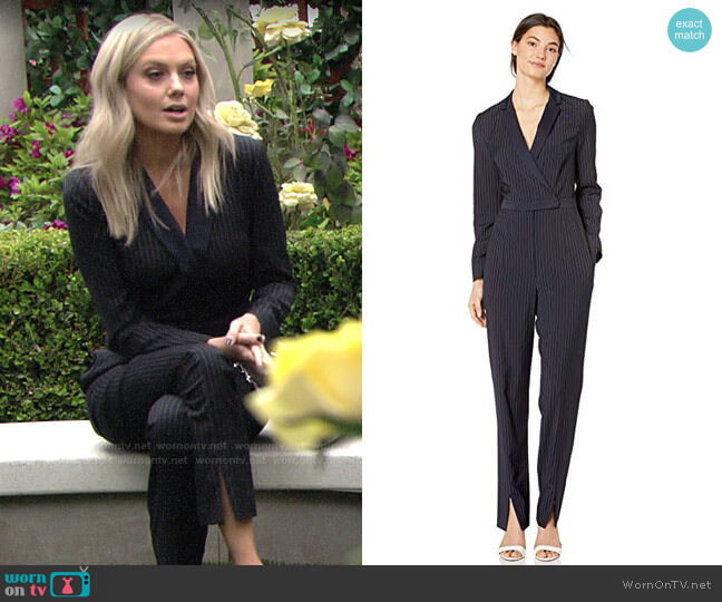 Bcbgmaxazria Faux Wrap Pinstripe Jumpsuit worn by Abby Newman (Melissa Ordway) on The Young & the Restless