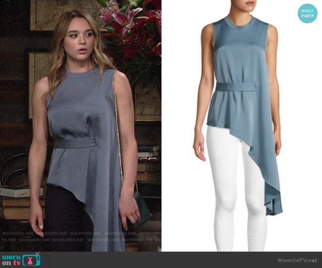 Bcbgmaxazria Sleeveless Asymmetric Blouse worn by Summer Newman (Hunter King) on The Young & the Restless