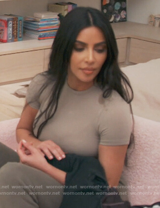 Kim's beige top on Keeping Up with the Kardashians