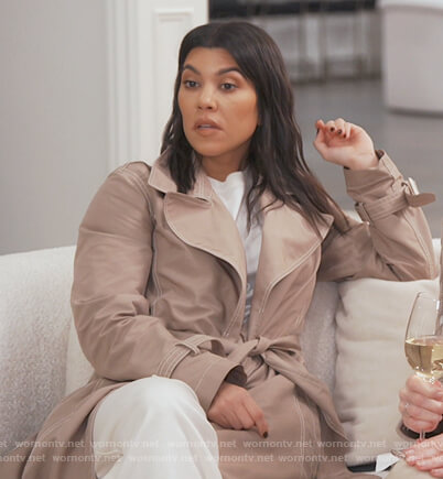 Kourtney's beige wrap trench coat on Keeping Up with the Kardashians