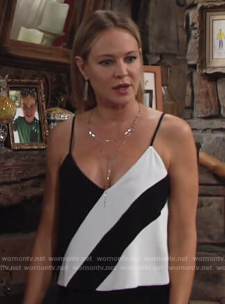 Sharon's striped jumpsuit on The Young and The Restless