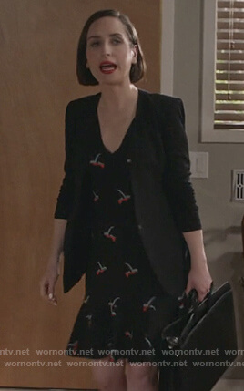 Jen's black bird print dress on Life in Pieces