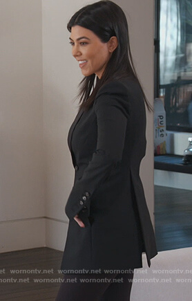 Kourtney's black button cuffs blazer on Keeping Up with the Kardashians