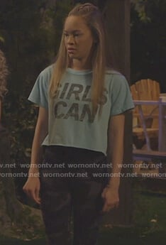 Ava's GIRLS CAN tee and camo leggings on Bunkd