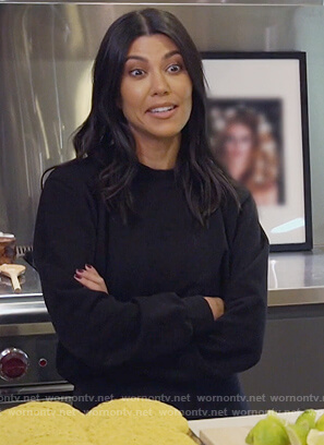 Kourtney's black cropped sweatshirt on Keeping Up with the Kardashians