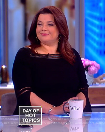 Ana's black eyelet trim dress on The View