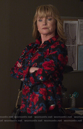 Dorothy's black floral blouse on Jessica Jones