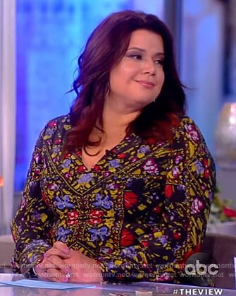 Ana's black silk floral blouse on The View