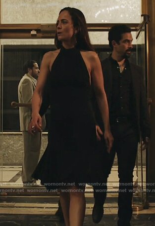 Teresa's black halter dress on Queen of the South