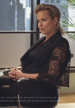 Jacqueline's black lace sleeve jacket on The Bold Type