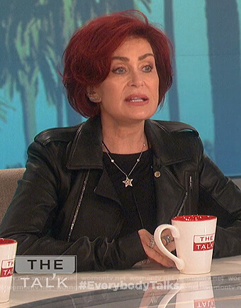Sharon's black leather moto jacket on The Talk