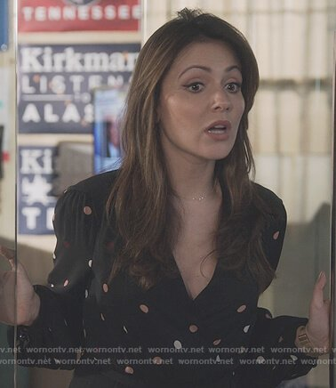 Emily's black polka dot wrap dress on Designated Survivor