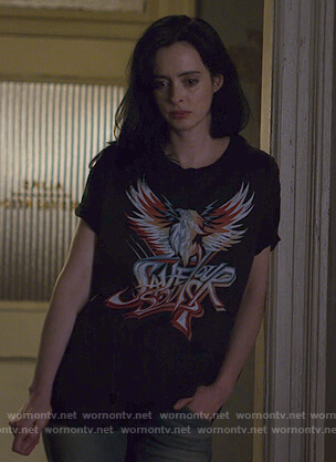 Jessica's black Save Our Souls tee on Jessica Jones