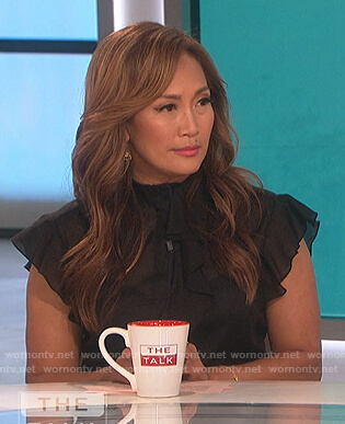 Carrie's black ruffle top on The Talk