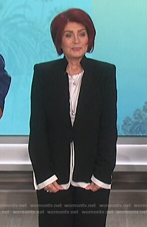Sharon's black contrast trim blazer on The Talk