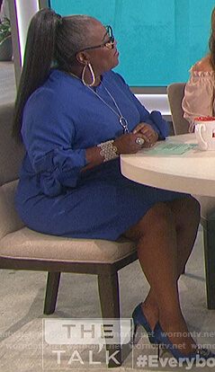 Sheryl's blue tie sleeve dress on The Talk