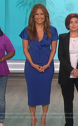 Carrie's blue twisted front dress on The Talk