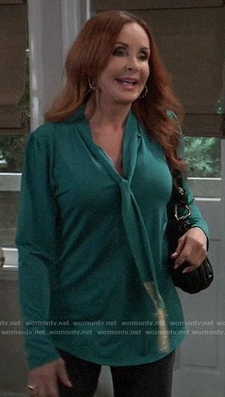 Bobbie's green fringed tie neck blouse on General Hospital