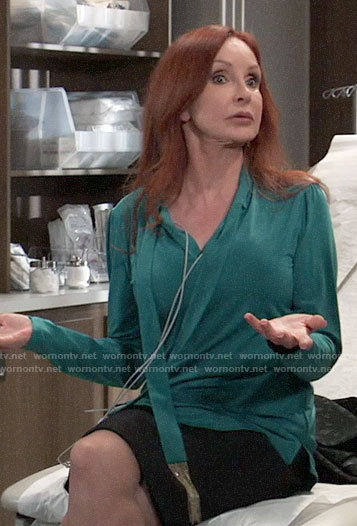 Bobbie's green fringed tie neck blouse on General Hospital