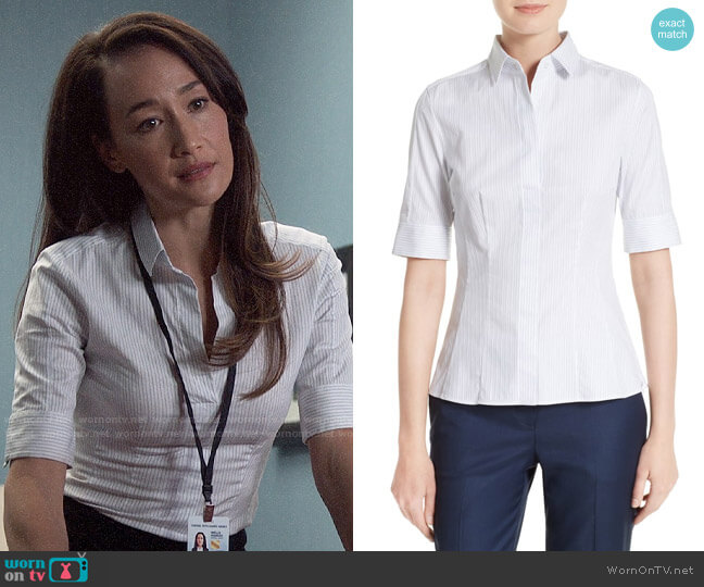 BOSS Bashini 2 Stripe Poplin Fitted Blouse worn by Hannah Wells (Maggie Q) on Designated Survivor