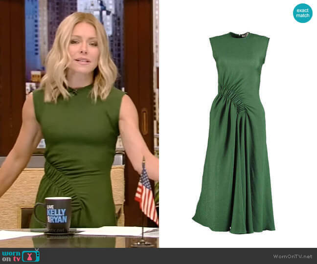Bottle Green Pina Midi Dress by Edeline Lee worn by Kelly Ripa  on Live with Kelly & Ryan