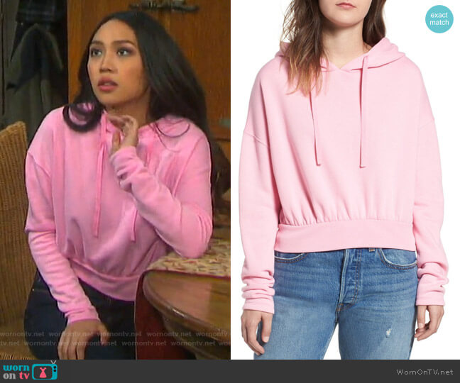 Crop Hoodie by BP worn by Haley Chen (Thia Megia) on Days of our Lives